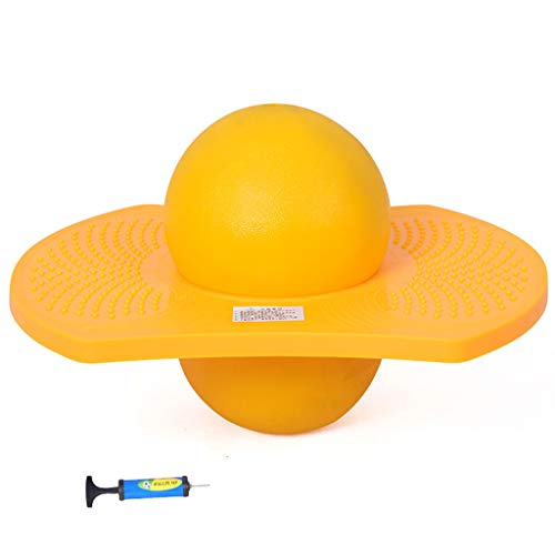 (Siyushop Hopping Toy,Explosion-Proof Thicken Fitness Ball/Children Bouncing Ball/Balanced Pedal Jumping(Give an Inflatable Tube) (Color : Yellow))