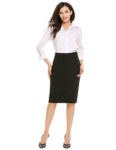 Zeagoo Women's Pencil Skirt Wear to Work Plus Size,Type2-black,Medium by Zeagoo