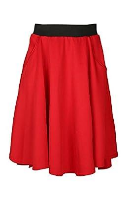 Be Jealous Women's Hi Lo Dipped Hem Back Pocket Swing Soft Midi Skater Skirt