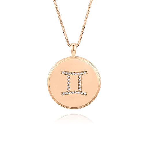 PAVOI 14K Rose Gold Plated Astrology Coin Constellation Necklace | Dainty Necklace for Women - Gemini