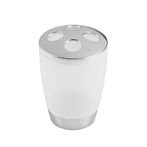 InterDesign Aria Bath, Toothbrush Holder Stand for Bathroom Vanity Countertops - Frosted