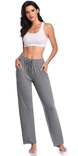 Womens Waistband Stretchy Cotton Blend Yoga Pants Running Workout Legging - Grey L