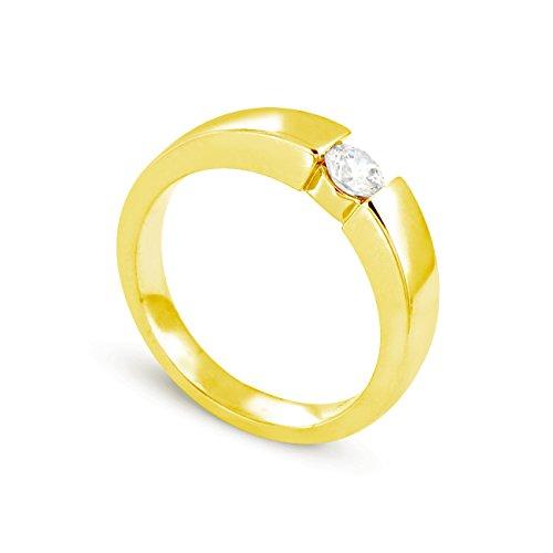 Tousmesbijoux Solitaire en Or jaune 375/00 Diamant 0,25 carat