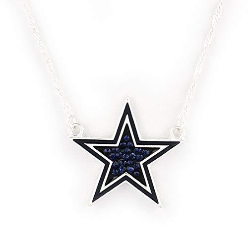 Drop of Silver NFL Football Dallas Cowboys Star Crystal Logo Necklace in Dark - Cowboys Dallas Star Pendant