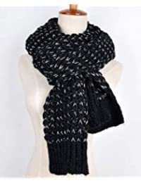 YUANZ Home Korean Version of The Winter Couple bib Knitted Wool Shawl Ma Haimao Female Long Thick Scarf Dual-use (Color : Black, Size : 175 * 30CM)