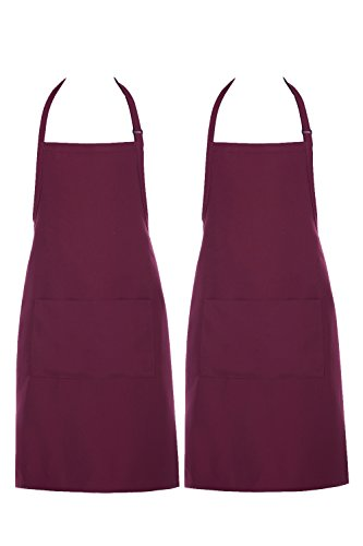 Chama Adjustable Neck Strap Long Tie 2 Pockets Bib Apron For Men Women Cooking Restaurant Bistro Craft Garden Half Aprons Chef Baker Servers Crafts --2 Pack (Burgundy) by CHAMA