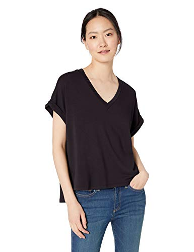 Daily Ritual Women's Supersoft Terry Deep V-Neck Roll-Sleeve Shirt, Black, X-Large