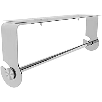 SMARTAKE Paper Towel Holder with Adhesive Under Cabinet, Wall Mounted & No Drilling, Removable Stainless Steel for Home Kitchen, Easy Tear, Silver