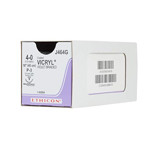 Ethicon Coated VICRYL (polyglactin 910) Suture, J464G, Synthetic Absorbable, P-3 (13 mm), 3/8 Circle Needle, Size 4-0, 18