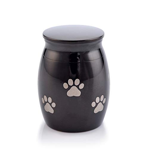 (Sunling Paws Footprints Engraved Small Stainless Steel Decorative Memorial Keepsake Cremation Urns Jar for Human Pet Ashes Funeral Bottle Holder for Dag,Cat,Family,Black,Waterproof)
