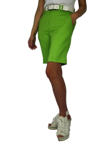 CaPantzzi Women's Stretch Flat Front Shorts- Green - 6 ()