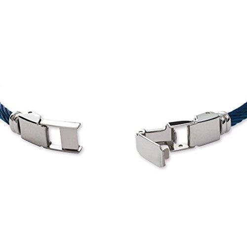 5b84c88bb3eb Tata Gisele© pulsera hombre rígida de acero inoxidable plateado y azul –  estilo cuerda –