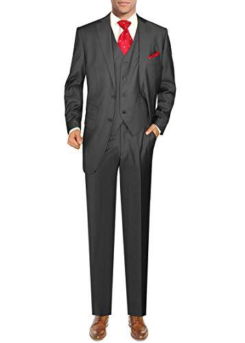 DTI GV Executive Men's Italian Two Button Vested Wool Suit Ticket Pocket 3 Piece (54 Long US / 64L EU/W 48
