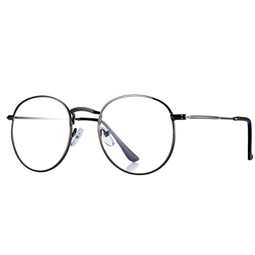 Pro Acme Classic Round Metal Clear Lens Glasses Frame Unisex Circle Eyeglasses - Frame Length Glasses