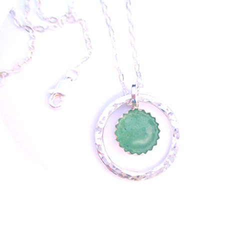 - Green Gemstone Necklace, Aventurine Pendant on Sterling Silver Chain