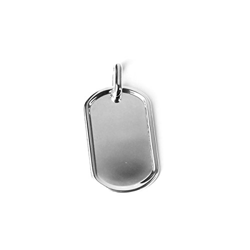 (Beauniq Mens Solid Sterling Silver Rhodium Plated Dog Tag Pendant with Border, 1 1/4 inches)