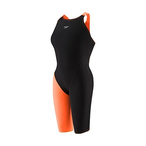Speedo LZR Racer Pro Recordbreaker Kneeskin with Comfort Strap Female Black/Orange 20 by Speedo