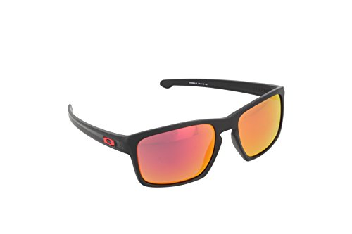 Oakley Men's Sliver 0OO9262 Non-polarized Iridium Rectangular Sunglasses, MATTE BLACK, 57.01 - Wayfarer Sunglasses Oakley