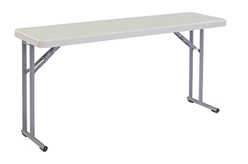 National Public Seating BT1860 Steel Frame Rectangular Seminar Blow Molded Plastic Top Folding Table, 700 lbs Capacity, 60
