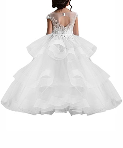 Long White Little Girls Pageant Dresses for Wedding Kids First Communion Prom Ball Gown -