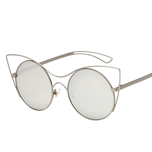 HANYI-Round Retro Polaroid Sunglasses Unisex Cat Eyes Aviator Mirror Lens Sunglasses - Silver Card Aviator