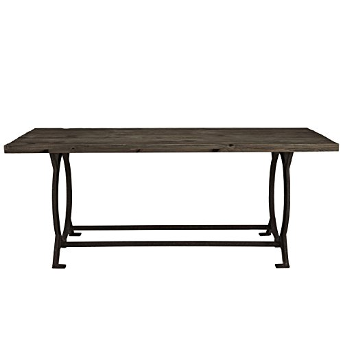Modway Effuse Wood Top Dining Table in Brown Artisan Oak Rectangular Table