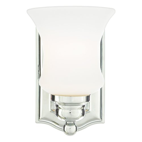 and 8-1/2-Inch Bath Sconce with One Light with Opal Etched Glass, Polished Chrome Finish (Oakland Bath Fixture)