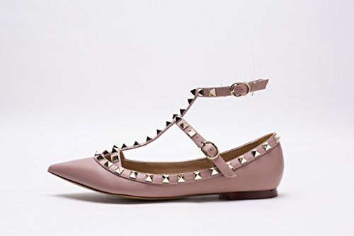 Poudre Pan Straps Matte Toe Pointed Leather Kaitlyn Flats Women's Studded Strappy Nude Caged Studs Gold Ballerina vwSqaHWR