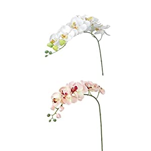 WINOMO 2pcs Artificial Butterfly Orchid Flower Plant Home Decoration (Pink+Off-white) 97