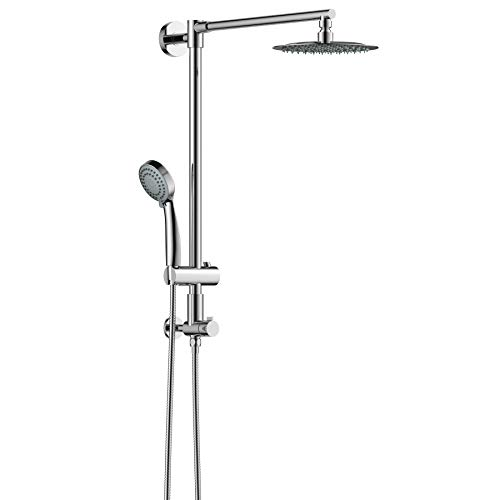 Column Shower - Polaris Retrofit Rain Shower System with 3-Setting Handheld Shower and Slide Bar & Shower Head 8 inch combo for Low-ceiling Bathrooms (Chrome)