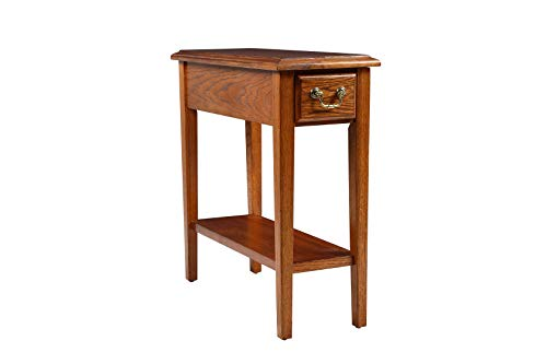 (Phoenix Home Tilburg Wood End Table with Drawer and Lower Shelf, Sunset Oak)