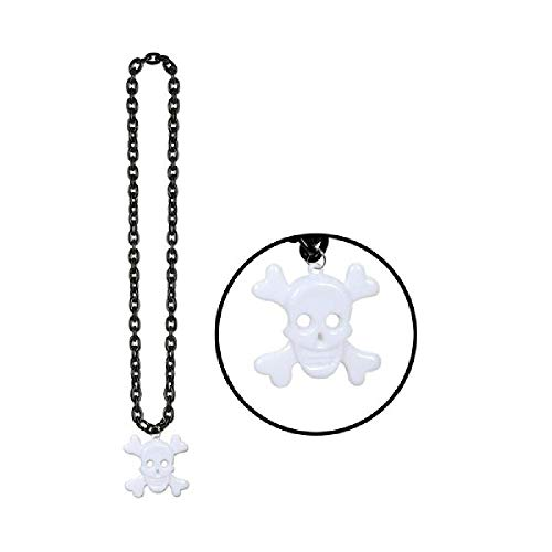 Black Chain Beads with Skull and Crossbones Medallion (1/pkg) (with Sticky (Crossbones Medallion)