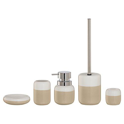 Porcelain 5 Piece Bath Set - 5-Piece Bathroom Accessories Set Sealskin Sphere Beige And White Porcelain