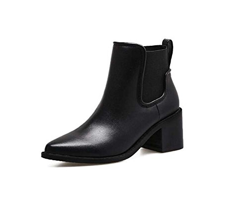6CM Chunkly Heel Chelsea Boots Women Handsome Pointed Toe Elastic Band Ankle Boots Casual Shoes 2017 Fall Winter New Eu Size 34-40 ( Color : Black leather , Size : 39 )