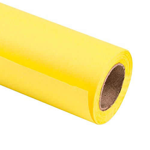 (RUSPEPA Lemon Yellow Kraft Wrapping Paper - 81.5 Sq Ft Heavyweight Paper for Wedding,Birthday, Shower, Congrats, and Holiday Gifts - 30Inch X 32.8Feet Per Roll)