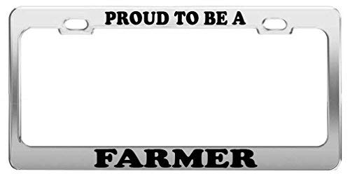 Proud to Be A Farmer License Plate Tag Holder Metal Frame Tag Holder Car Truck Accessory Gift Tag Cover 12in x 6in