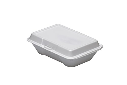Dart 205HT1, 9x6x3-Inch Performer White Single Compartment Foam Container With A Removable Hinged Lid, Carryout Food Disposable Containers (50)