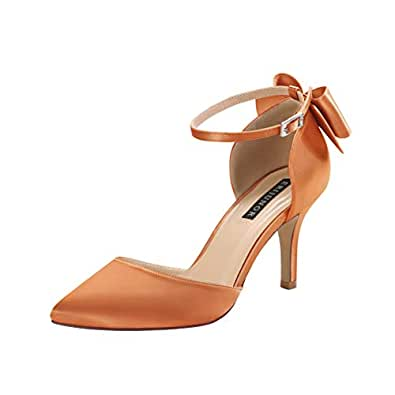 ERIJUNOR Wedding Evening Party Shoes Comfortable Mid Heels Pumps with Bow Knot Ankle Strap Wide Width Satin Shoes Orange Size: 5.5