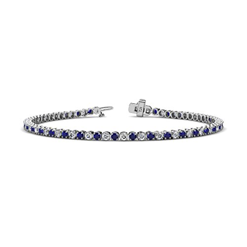 Blue Sapphire and Diamond 2.3mm (SI2-I1, G-H) Tennis Bracelet 2.26 cttw in 14K White Gold