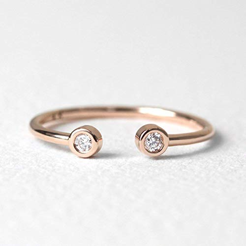 Diamond Ring/Brilliant Round Cut Diamond Ring/Minimalist Ring/Double Diamonds Ring/Cuff Ring/Open Ring/Stackable Ring/Gifts -