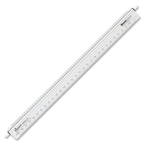 Chartpak Architectural Triangular Scale - 12'' Length 1'' Width - 1/16, 1/8, 1/4, 1/2, 1/32, 1 Graduations - Imperial, Metric Measuring System - Aluminum - 1 Each - White by Chartpak (Image #1)