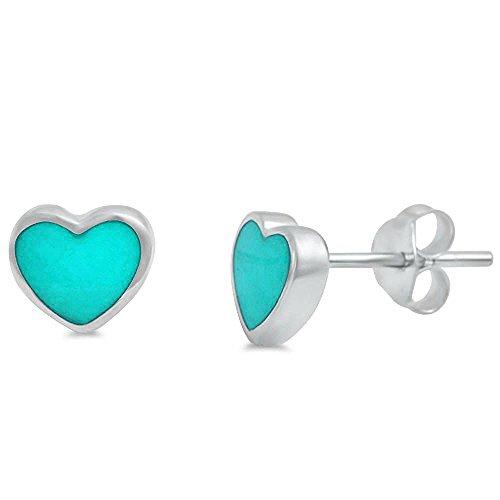 Earrings Silver Heart Shape Sterling (Green Turquiose Heart Shape .925 Sterling Silver Earring)