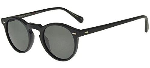 Oliver Peoples Eyewear Men's Gregory Peck Polarized Sunglasses, Matte Black/Midnight Express, One Size (Oliver Peoples Sunglasses)