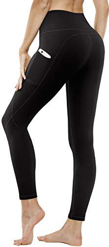 FUNANI High Waist Yoga Pants with Pockets, Tummy Control Yoga Pants for Women, 4 Ways Stretch Workout Leggings with Pockets (Black,XL)