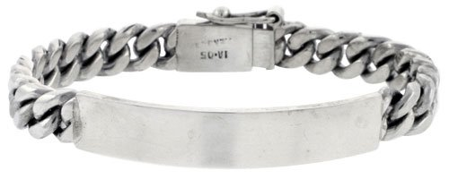 Sterling Silver Cuban Curb Link Men's ID Bracelet 5/16 inch wide, 8 inch long