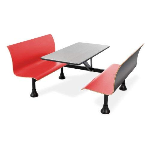 OFM 1006W-RED Retro Bench with Stainless Steel Table Top and Wall Frame