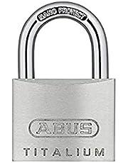 ABUS Hangslot Titalium 64TI/40 - set van 4, gelijksluitend - slotlichaam van speciaal aluminium - geharde stalen beugel - ABUS veiligheidsniveau 5 - zilver