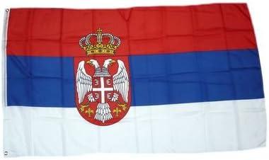 FahnenMax – Bandera Serbia con escudo 150 x 250 cm Banderas: Amazon.es: Jardín