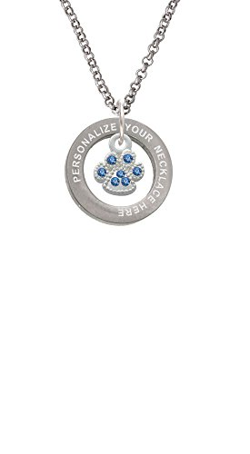 Delight Jewelry Mini Paw with Blue Crystals Custom Engraved Affirmation Ring Necklace