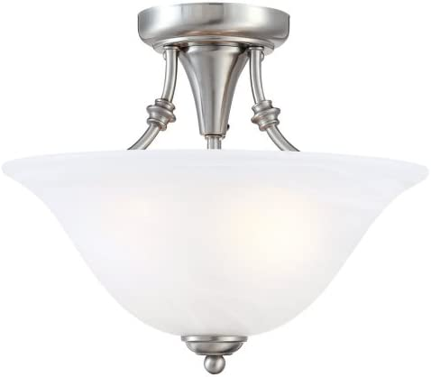Hardware House 544676 Bristol 13-by-11-Inch 2-Light Semi-Flush Ceiling Fixture with Brushed-Nickel Finish and Alabaster-Glass Shade